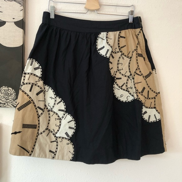 Anthropologie Floreat Lost Time Clock Skirt, Sz 14